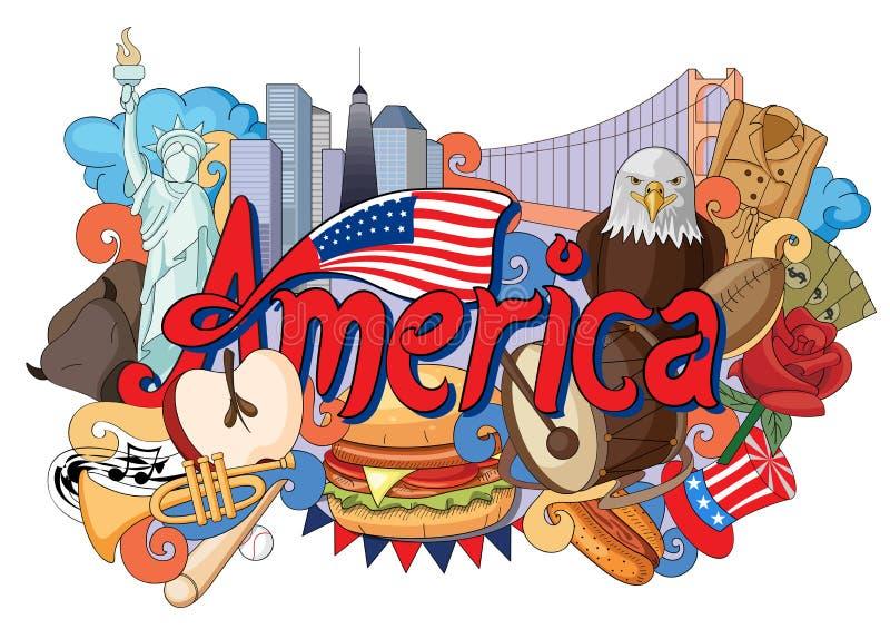 Doodle показывая архитектуру и культуру Америки бесплатная иллюстрация