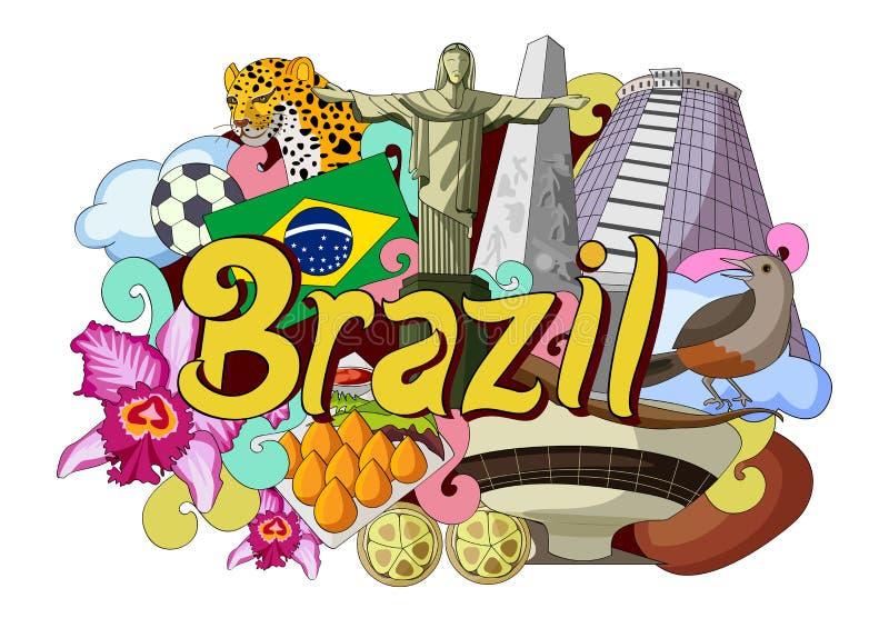 Doodle показывая архитектуру и культуру Бразилии иллюстрация штока
