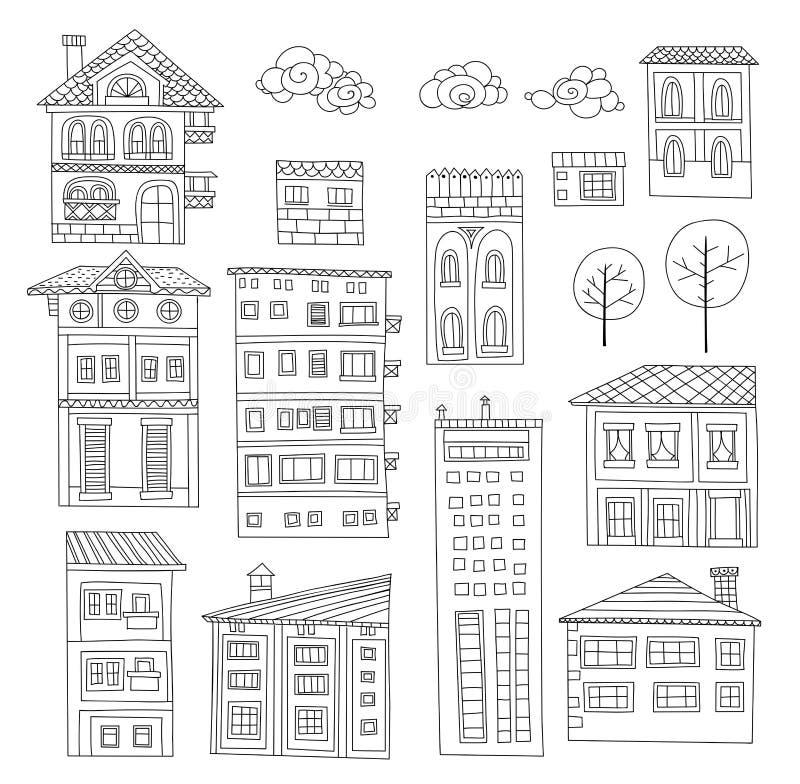 Doodle расквартировывает собрание иллюстрация вектора
