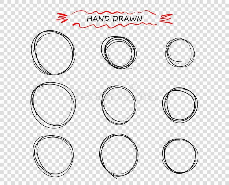 Doodle руки вектора вычерченный черный круглый линий Выбор примечаний элементов, эскиз Пузырь сообщения Изолированная предпосылка иллюстрация штока