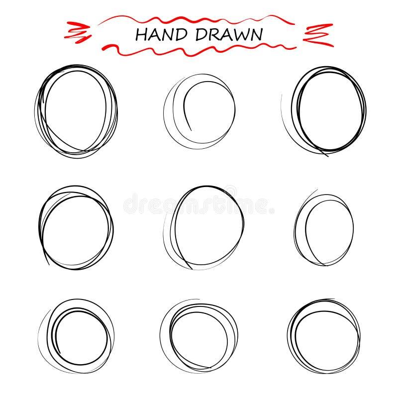 Doodle руки вектора вычерченный черный круглый линий Выбор примечаний элементов, эскиз Пузырь сообщения Изолированная предпосылка бесплатная иллюстрация