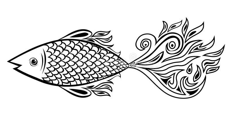 Doodle рыб иллюстрация вектора