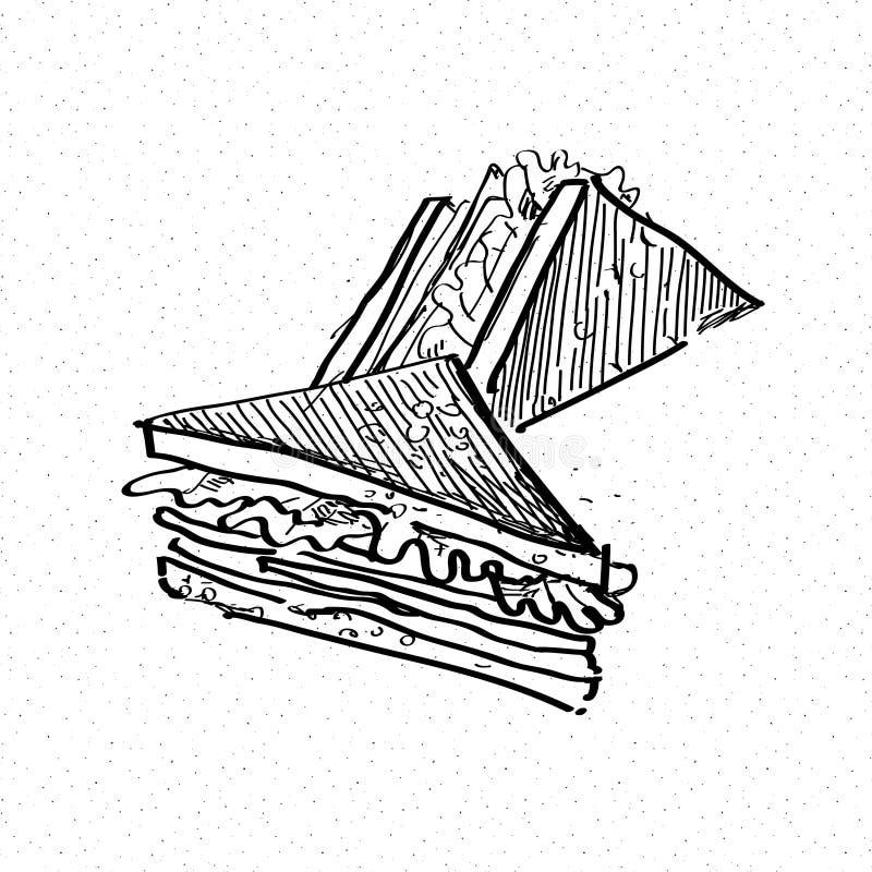 Doodle сандвича иллюстрация вектора