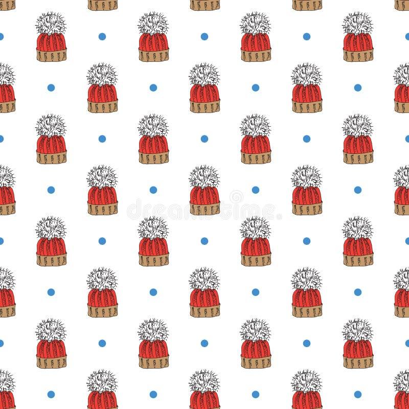 Doodle сезона зимы одевает безшовную картину Вручите вычерченным элементам эскиза теплые свитер, пальто, ботинки, носки, перчатки иллюстрация штока