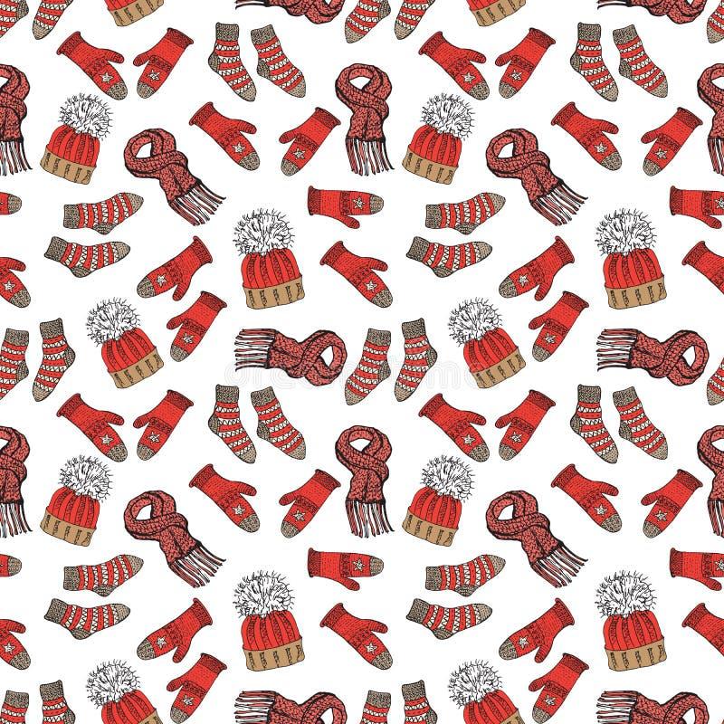 Doodle сезона зимы одевает безшовную картину Вручите вычерченным элементам эскиза теплые носки, перчатки и шляпы свитера raindeer иллюстрация штока