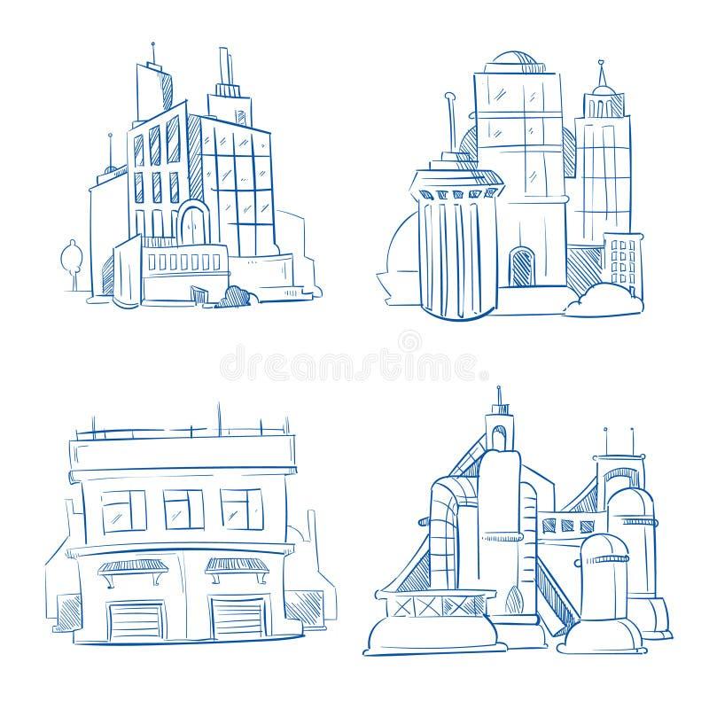 Doodle современный офис, здания фабрики индустрии, комплект вектора чертежа руки эскиза склада иллюстрация вектора