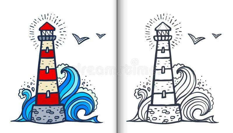 Doodle стиль белый и красная изолированная иллюстрация книжка-раскраски вектора маяка с покрашенным образцом и ясной версией иллюстрация вектора