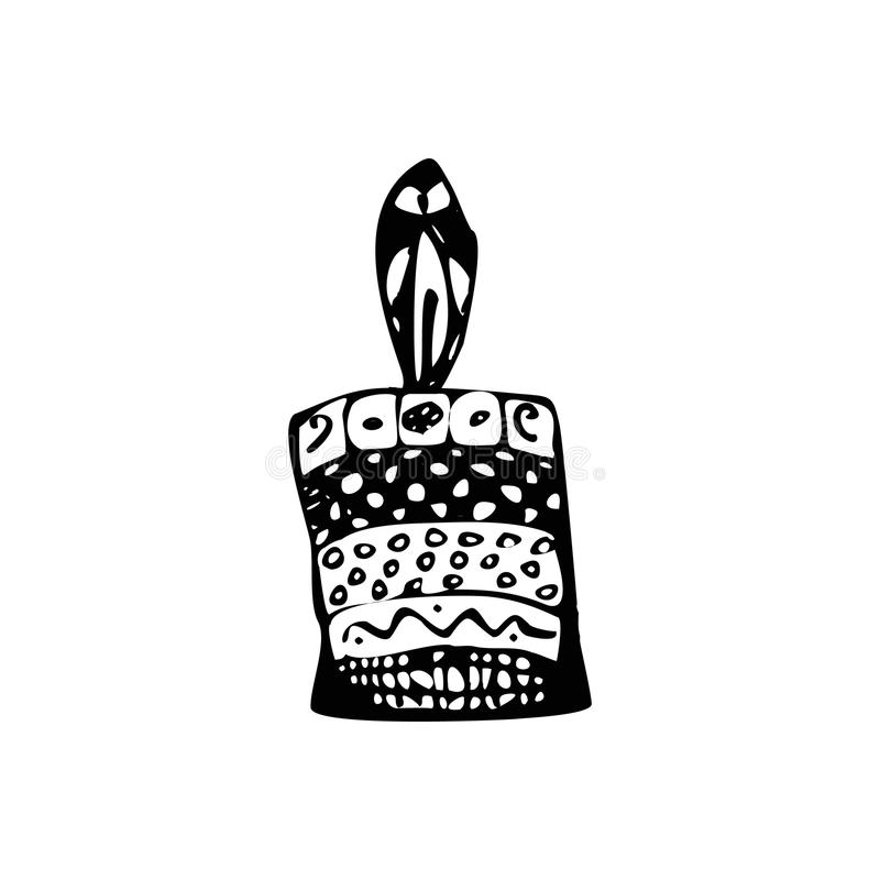 Doodle стиля свечи Рука чертежа эскиза Иллюстрация вектора на изолированной предпосылке иллюстрация штока