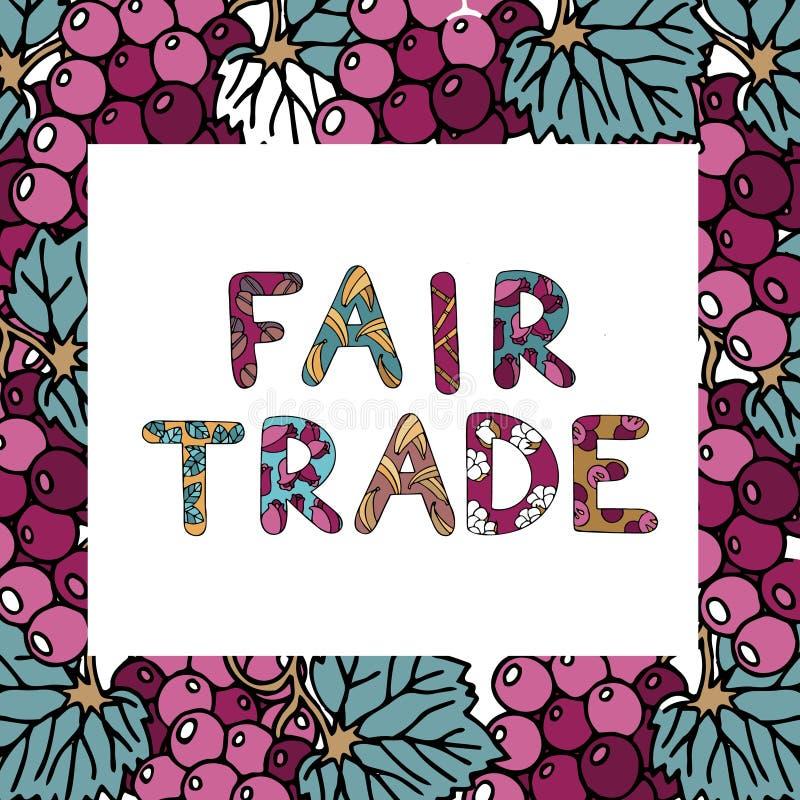 Doodle цвета справедливой торговли с литерностью и продуктами справедливой торговли иллюстрация вектора