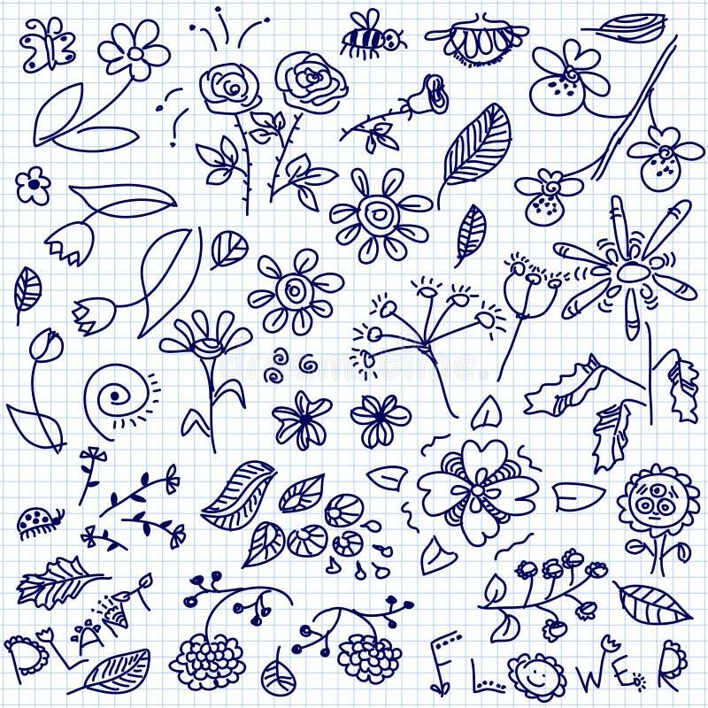 Doodle цветков иллюстрация вектора