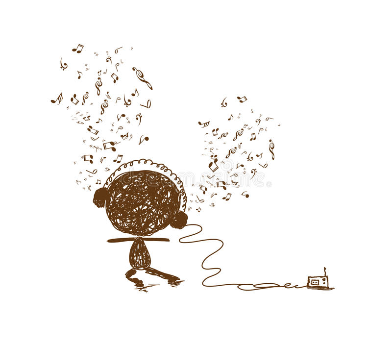 Doodle чувства музыки иллюстрация штока