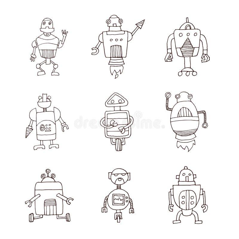 Doodle шаржа робота, иллюстрация вектора иллюстрация вектора