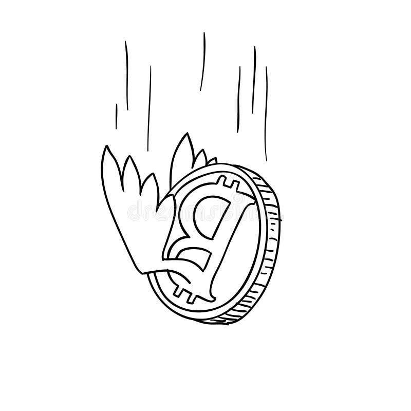 Doodle шаржа эскиза Bitcoin светотеневой также вектор иллюстрации притяжки corel иллюстрация вектора