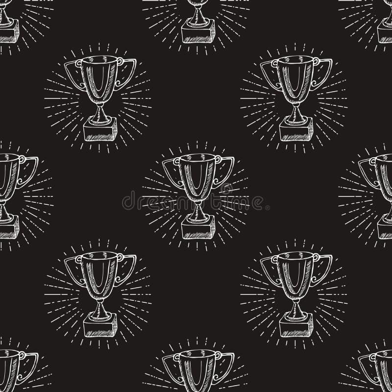 Doodle эскиза картины трофея спорта безшовный Победители нарисованные рукой призовые на предпосылке доски бесплатная иллюстрация
