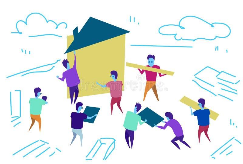 Doodle эскиза концепции сыгранности процесса тимбилдинга работников дома конструкции группы людей горизонтальный иллюстрация штока
