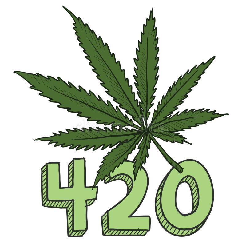 Эскиз марихуаны 420 иллюстрация вектора
