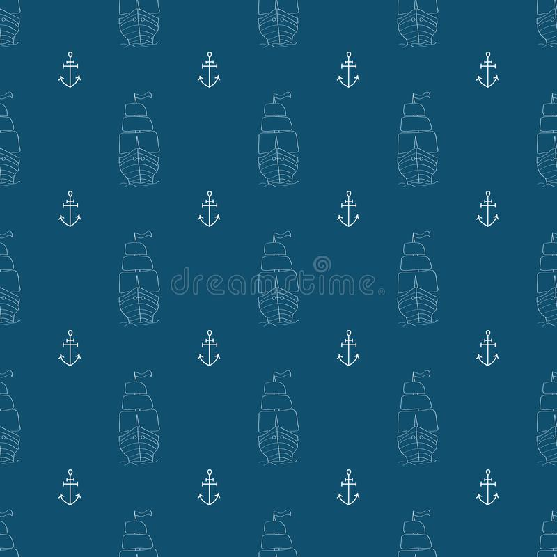 Морская безшовная картина Doodle, эскиз, scribbles r иллюстрация штока