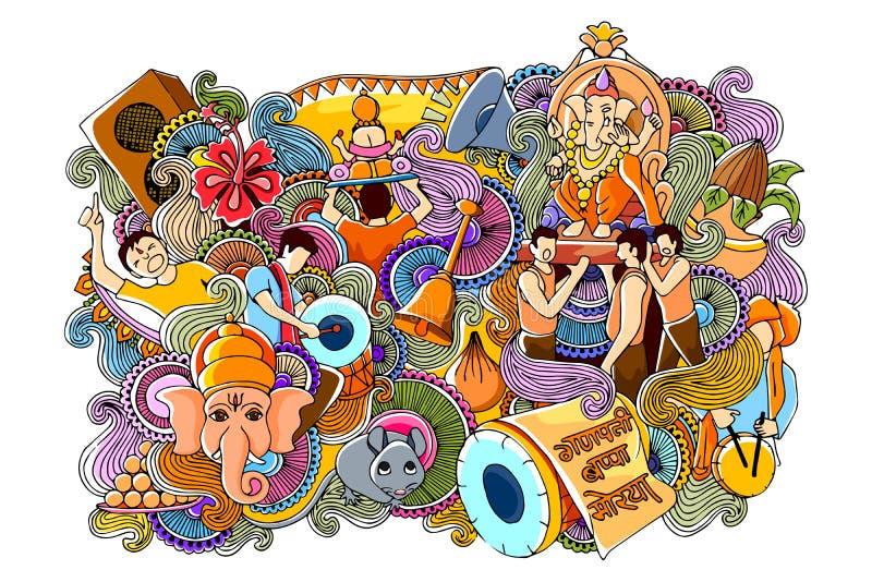 Doodle для счастливого Ganesh Chaturth иллюстрация вектора