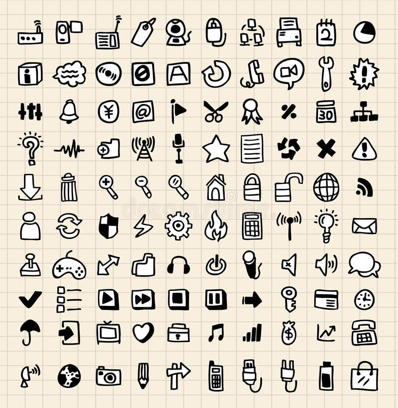 Doodle 100 web icon vector illustration