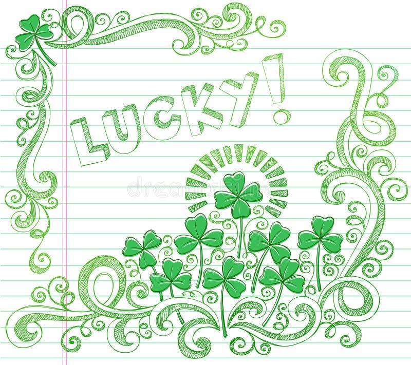 Doodle afortunado del trébol de cuatro hojas del día del St Patricks ilustración del vector