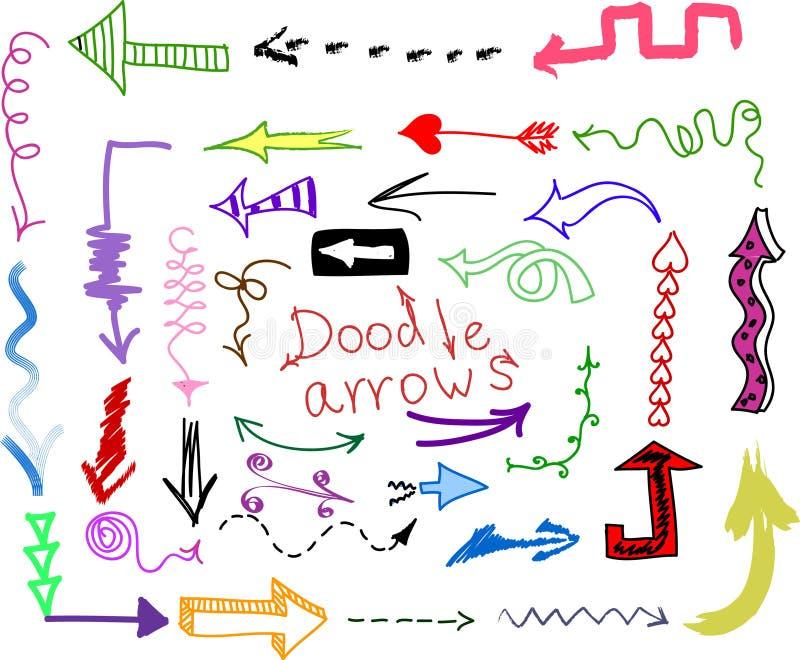 Doodle ajustado - setas ilustração do vetor