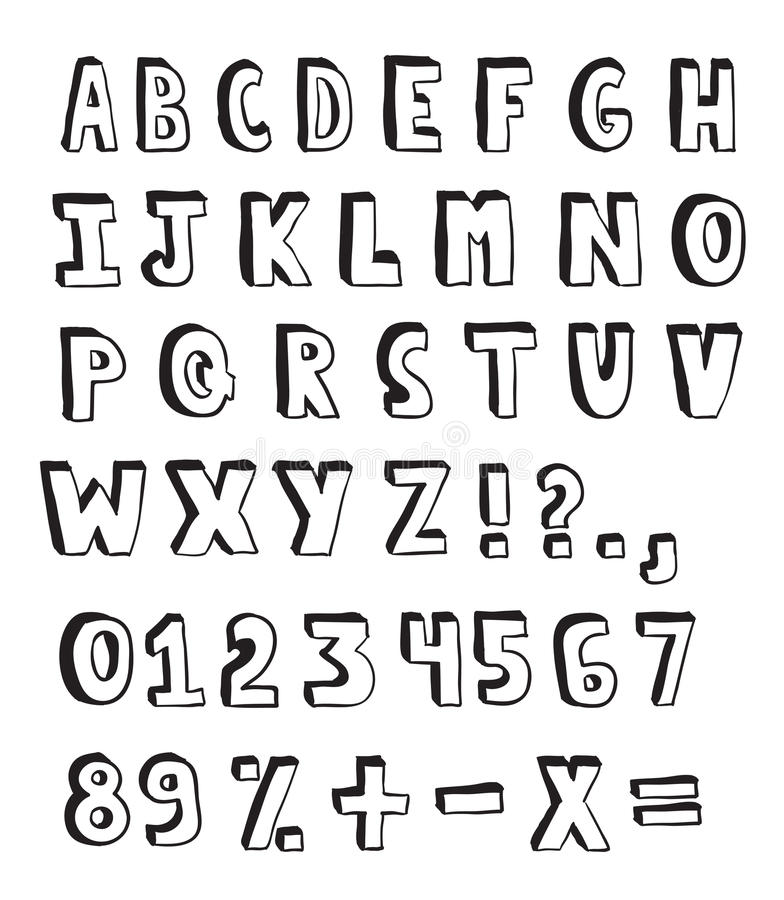 Doodle alphabet. Hand drawn alphabet and numbers on white background stock illustration