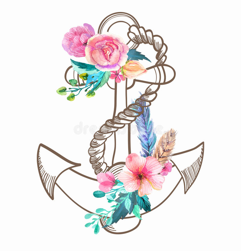 Doodle Anchor with watercolor flowers and feather vector illustration