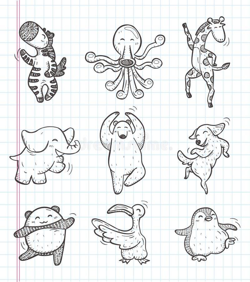 Doodle animal dance icons. Cartoon vector illustration vector illustration