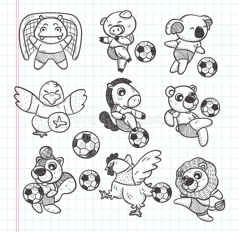Download Doodle Animal Soccer Player Element Stock Vector - Image: 32690183