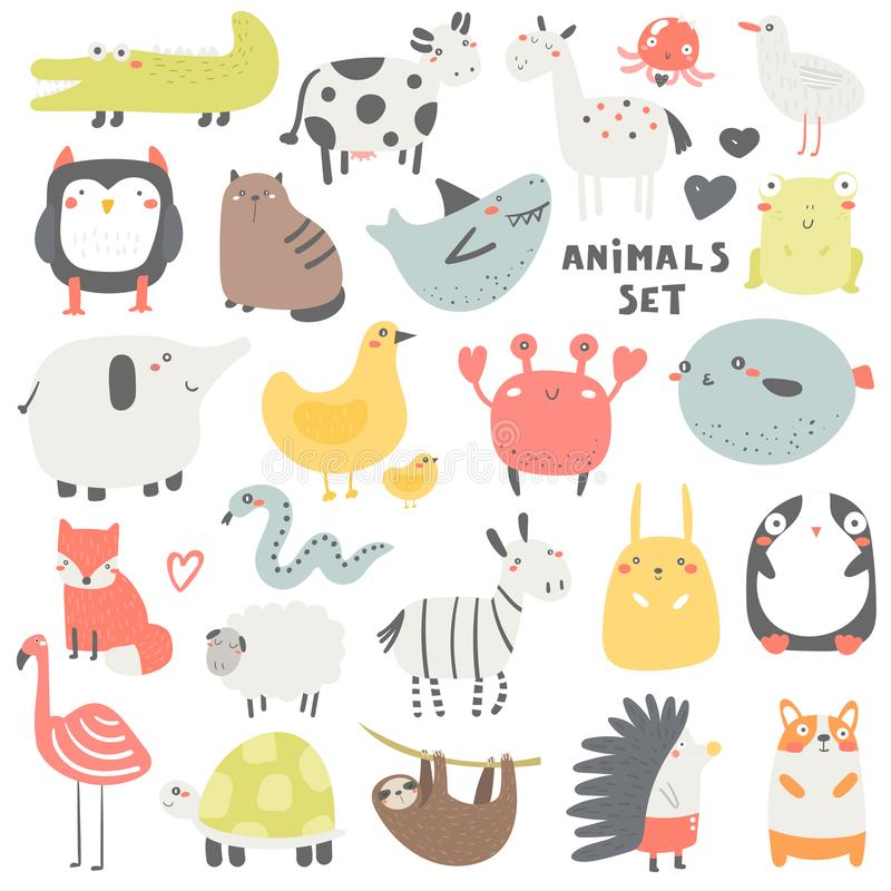 Doodle animals set including owl, crocodile, cow, cat, shark, horse, jelly fish, frog, seagull, elephant, chicken stock photography