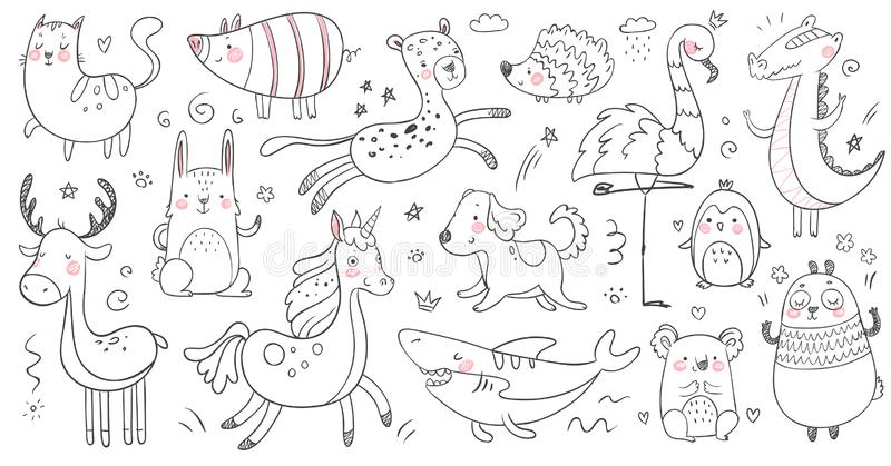 Doodle animals. Sketch animal, hand drawn decoration panda and adorable crocodile. Cute shark, cat and friendship vector illustration