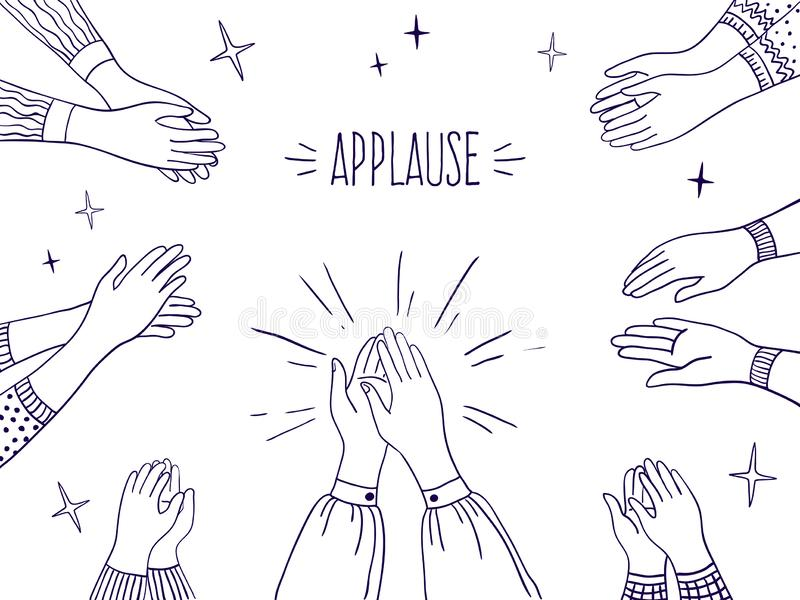 Doodle applause. Happy people hands, high five illustration, sketch draw of clapping hands. Vector agreement and success royalty free illustration