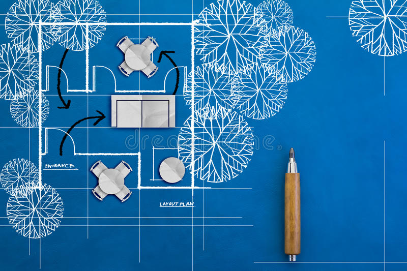 Doodle of architecture blueprints and house plans royalty free stock photo
