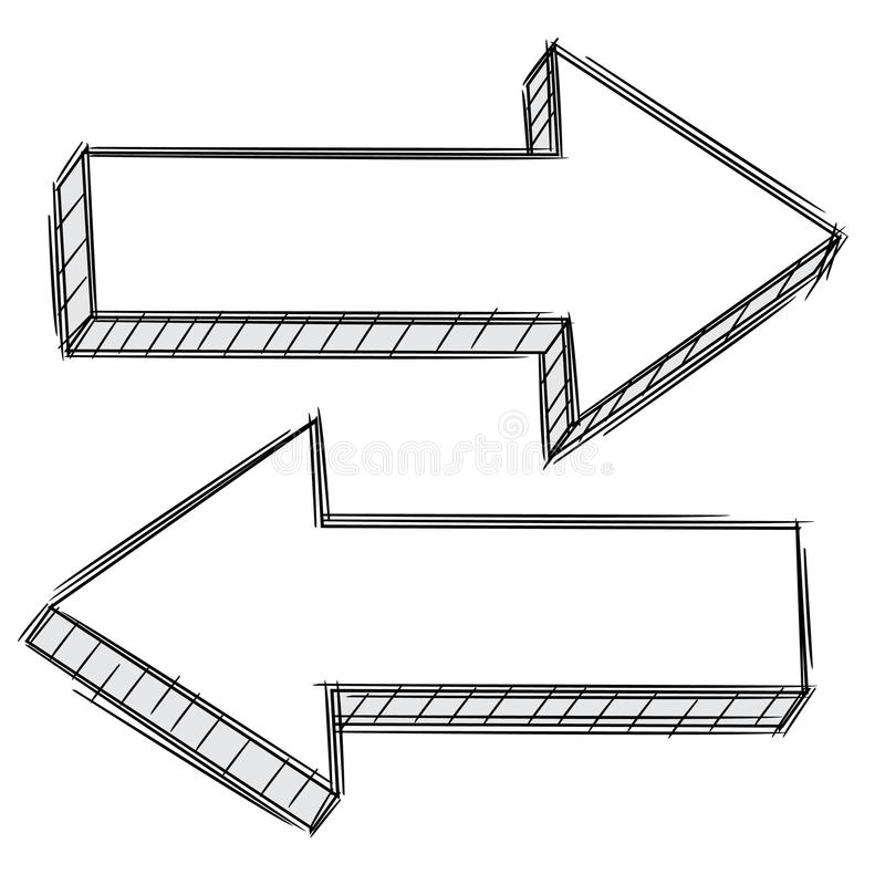 Doodle of arrow pointing left and right stock illustration