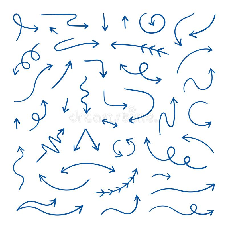 Doodle arrows. Linear hand drawn direction arrows, pen sketch design elements. Wavy loop line arrows. Vector doodle vector illustration