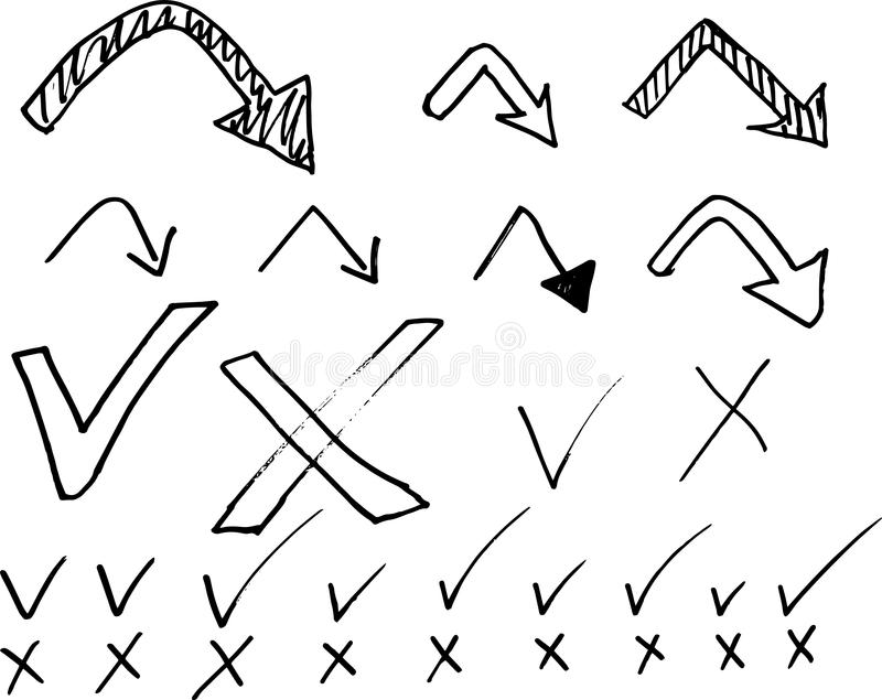 Doodle Arrows, tick and cross sign vector set. royalty free illustration