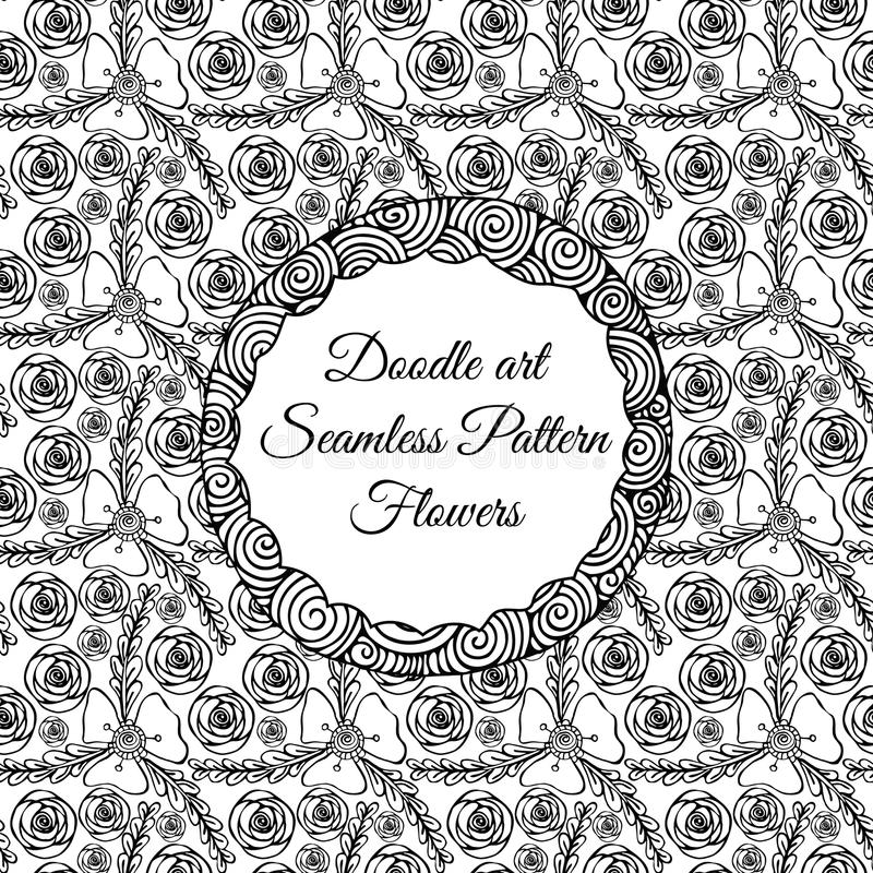 Doodle art. Abstract seamless pattern with flowers. Vector illustration. Coloring books. Black white. Floral motive. stock illustration