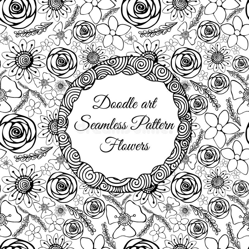 Download Doodle Art Abstract Seamless Pattern With Flowers Vector Illustration Coloring Books