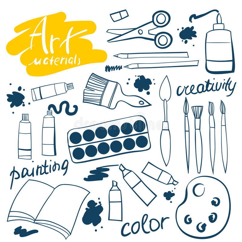 Doodle art materials collection. Hand drawn art icons set. Vector Illustration. Doodle art materials collection. Hand drawn art icons set. Vector Illustration vector illustration