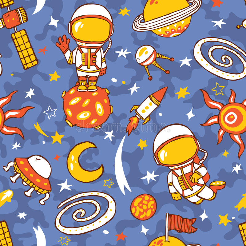 Doodle astronauts pattern of space collection. Seamless vector doodle hand drawn pattern with astronauts, planets, stars, spaceships stock illustration