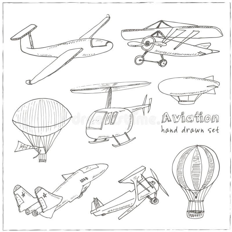 Doodle aviation set Vintage illustration for identity, design. Decoration, packages product and interior decorating vector illustration