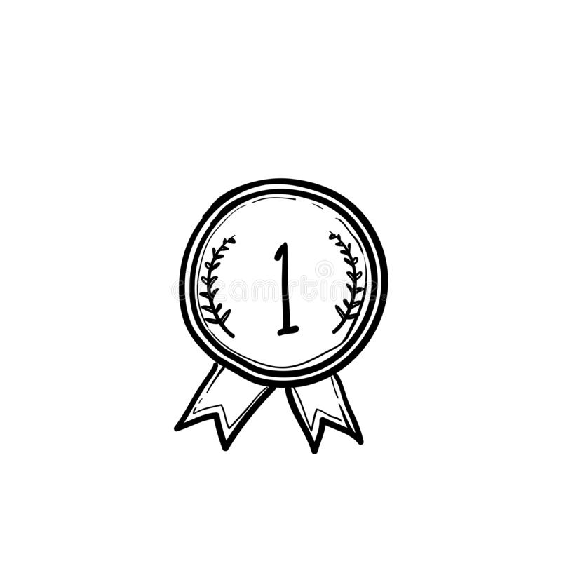 Free Doodle Award Medals. Winner Medal First Place Trophy Champion Honor Best Ceremony Prize, Hand Drawn Vector Set Royalty Free Stock Images - 168176389