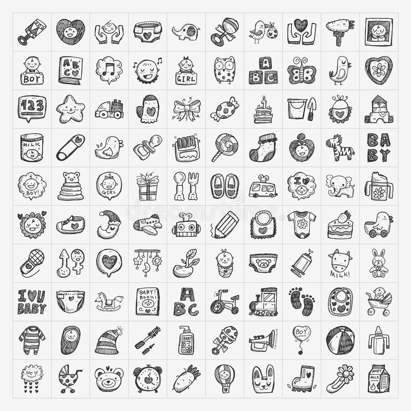Doodle baby icon sets stock illustration
