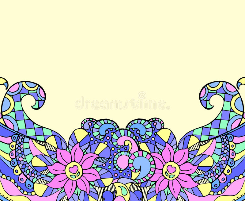 Doodle background with hand-drawn ornament and place for text. Mandala style doodling border on blank paper. Greeting card or wedding invitation template vector illustration
