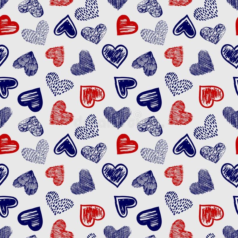 Doodle ballpoint pióra rysunkowych serc bezszwowego deseniowego wektor ilustracji