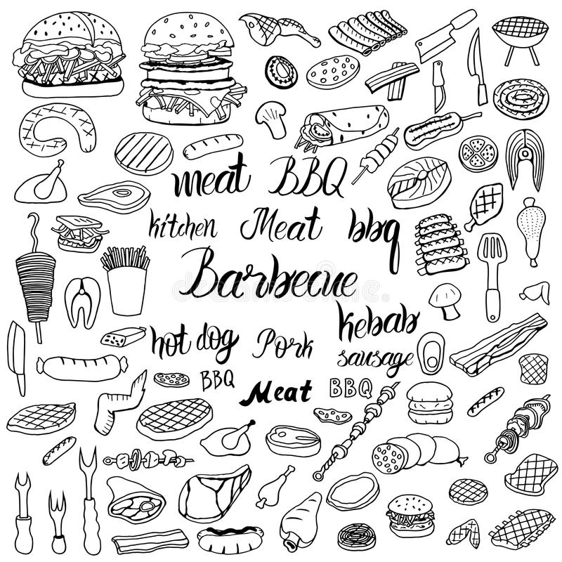 Doodle BBQ party icons set. royalty free illustration