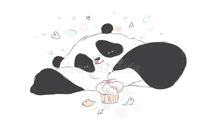 Doodle panda cute cartoon happy birthday cake for decoration design. Funny sweet vector bear with food icon. vector illustration