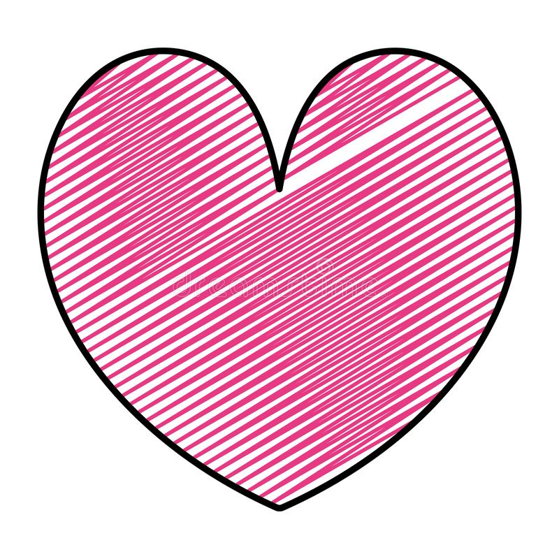 Doodle beauty heart romance symbol style. Vector illustration stock illustration