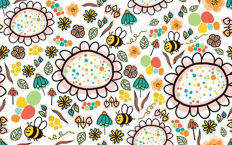 Doodle bees and flowers seamless pattern on a white background. Perfect for the kids market. Cute simple design. Fabric, paper, royalty free illustration