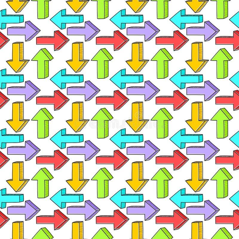 doodle bezszwowy deseniowy Tło barwić strzały w różnych kierunkach royalty ilustracja